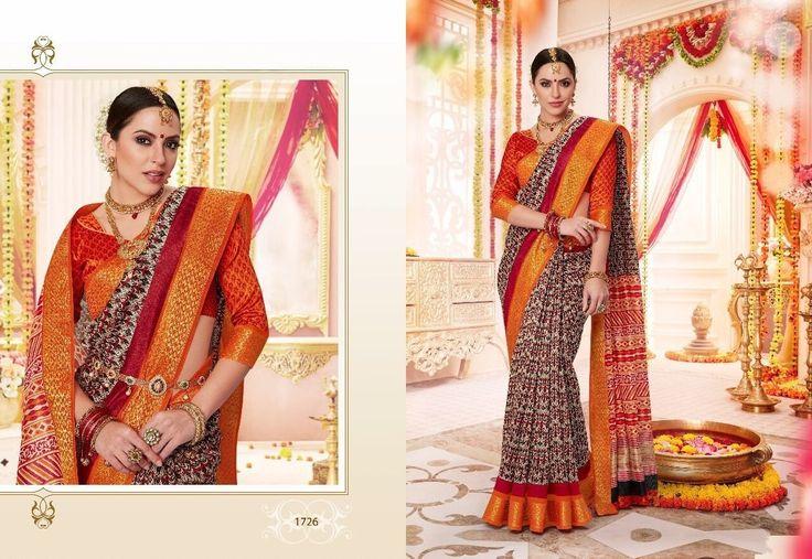 Trendy Brown Saree,Banarasi saree,printed saree with golden border,Designer saree,Party wear saree