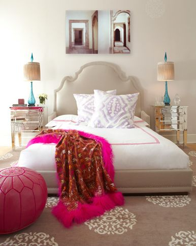 Moroccan Glam, Neutral With A Pop Of Bright Color. A Morrocan Painted  Stencil On
