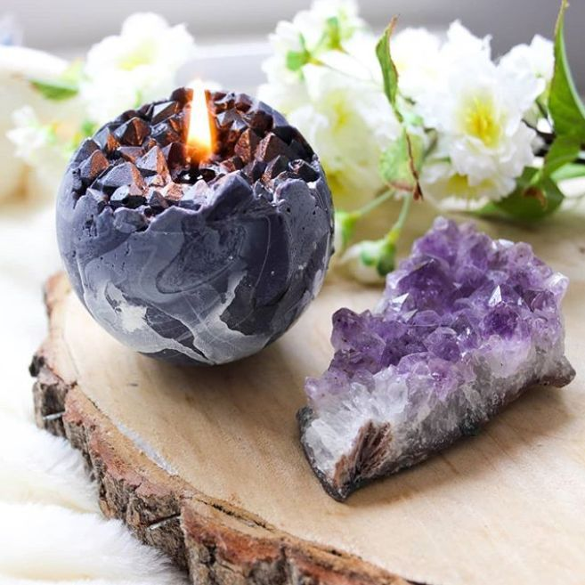 Crystal Sphere Candle Black White Marble Unscented