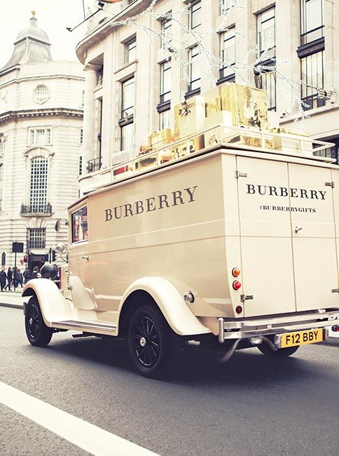 The festive van continues its journey in London, delivering Burberry gifts