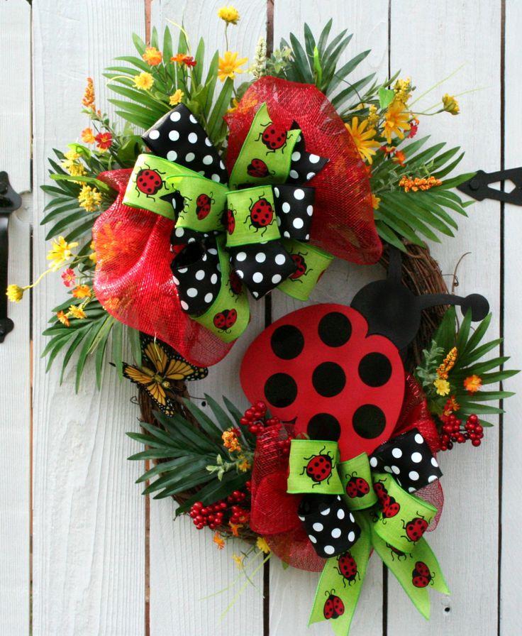 Ladybug Wreath, Ladybug Mesh Wreath, Ladybug Decor, Front Door Wreath, Ladybug Sign, Ladybug Arrangement, Ladybug decorations, Exotic Decor by LeWreath on Etsy