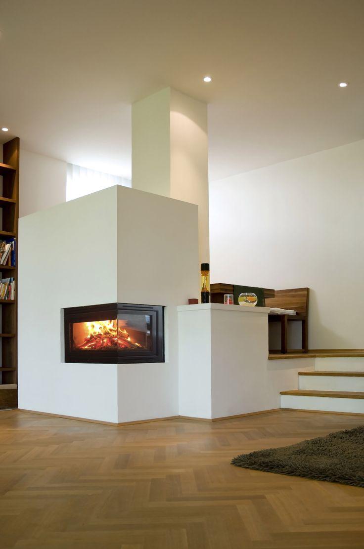 Hoekhaard & houten visgraat vloer - haard Oxford via Fuego Kachels & Haarden