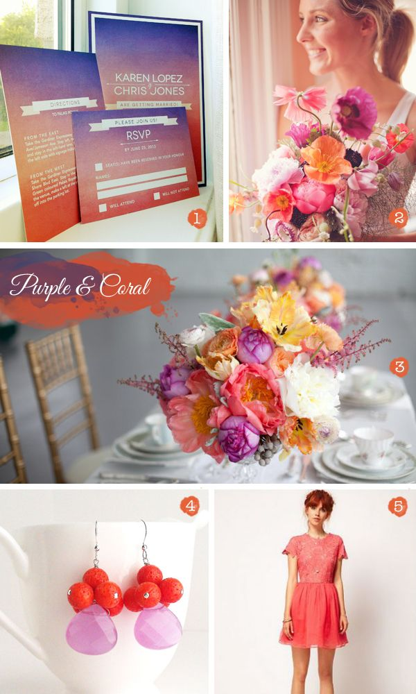 Purple and coral wedding color palette, I adore these colors! Reminds me of a sunset.