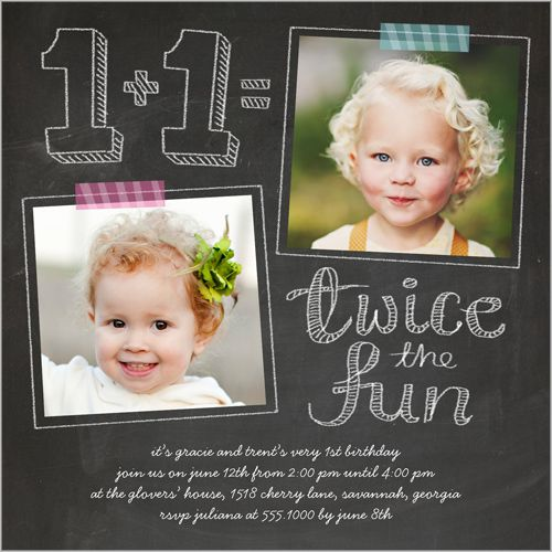 Twice As Fun Twin Birthday Invitation