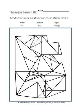 Triangle Search #2 will have your students searching for, identifying, and classifying triangles as ACUTE, OBTUSE, AND RIGHT. Please preview Triangle Search #1 and Angle Searches 1-3 as prerequisite activities.