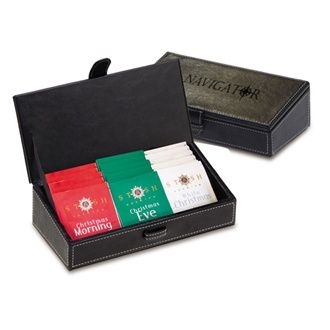 CHRISTMAS TEA SET  Leatherette desk caddy holds 12 stash brand tea bags. 4 Christmas Morning Black Tea, 4 Christmas Eve Herbal Tea, 4 White Christmas Tea. When tea is finished, leatherette caddy can used as a desk caddy.
