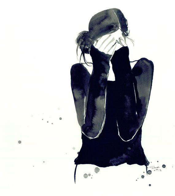 Chica Confused impresión de la ilustración por JessicaIllustration