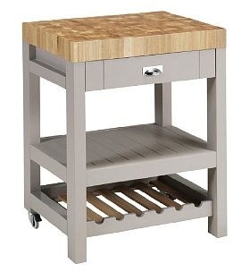 Fenchurch butcher's block from Marks and Spencer. Beautifully crafted, great design. Oak and oak veneer, with low-sheen lacquer for added durability. £499, so not particularly cheap.