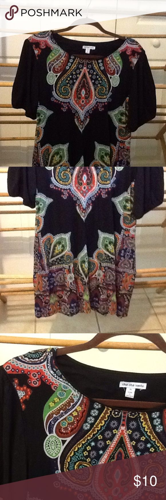 """Size XL Colorful Tunic Style Dress Black Festival Festival style size XL rayon and spandex tunic style dress. Black tribal boho design. 36"""" bust, 38"""" waist, 42"""" hips, 29"""" long. In very good condition. Cha Cha Vente  Dresses Mini"""