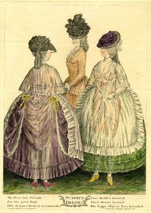 [Note: Date. Late for polonaise?] 1782 print     Summer dresses  Description  Three ladies stand, two wearing light transparent dresses, through which their nude figures are visible. The third, who is partly concealed behind and between the other two, wears tight coat unbuttoned to show ruffles. The other two wear lace fichus, frilled aprons, and frilled petticoats. All wear hats.  British Museum J,5.139