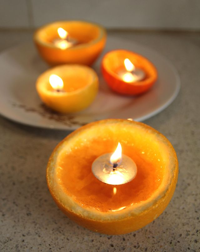Orange Rind Candle Centerpiece For Tu B'Shevat @ Creative Jewish Mom