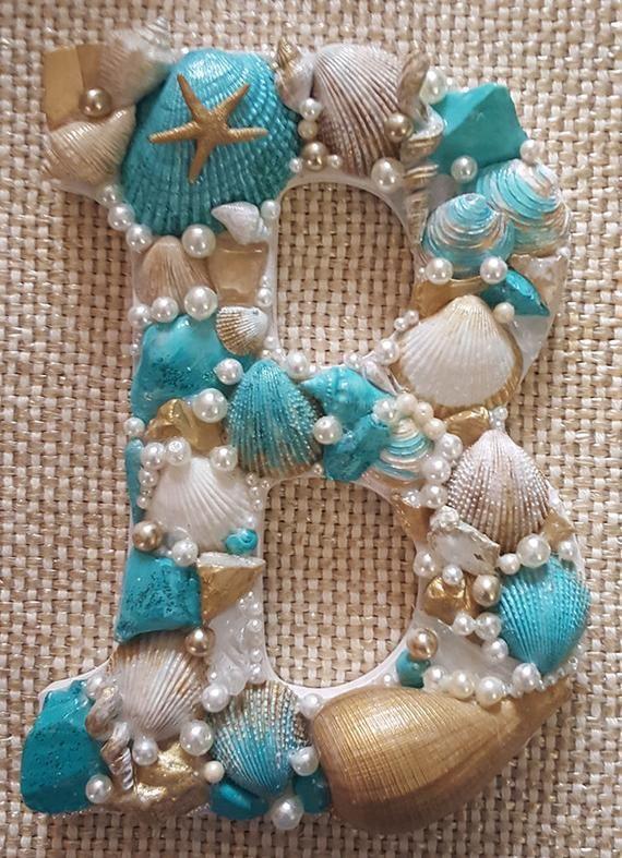 Seashell Letter B Beach Decor– Beach Wedding– Gift–Coastal Decor– Tropical Colors– Wooden Letter Letter B