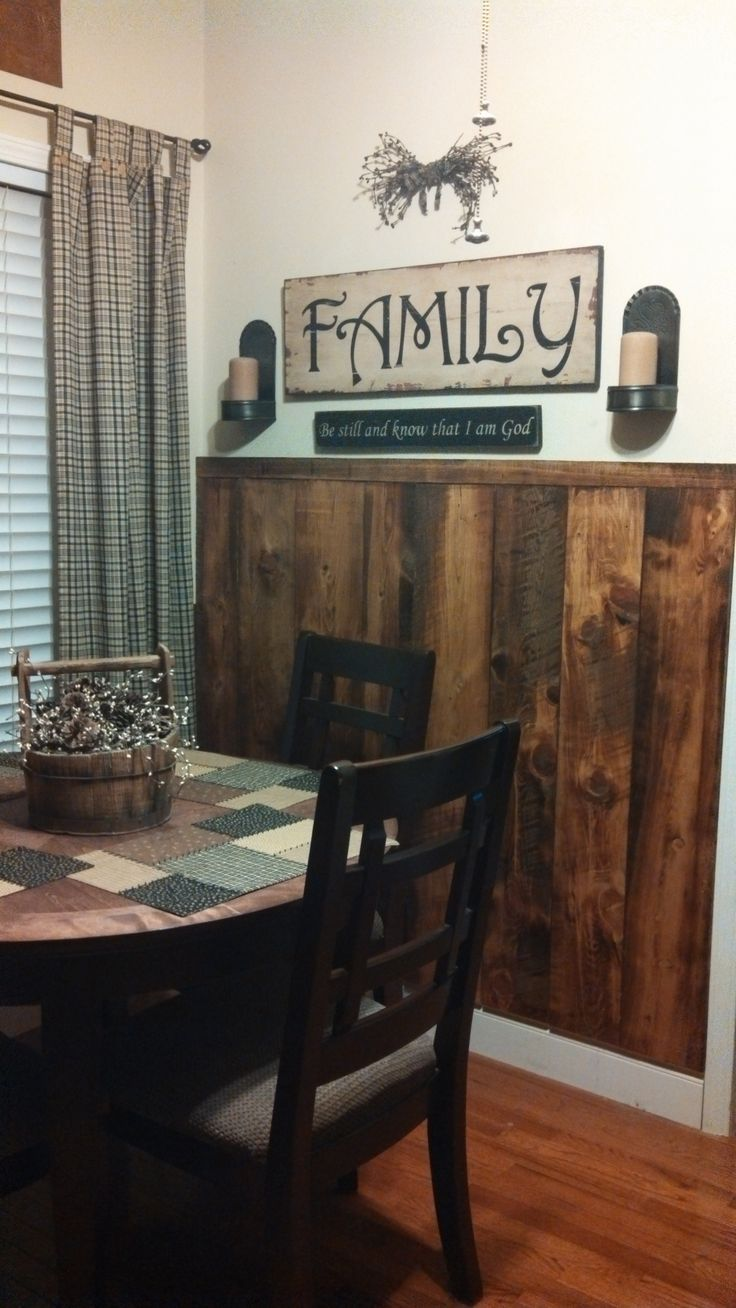 Breakfast nook. Reclaimed wood wainscoting