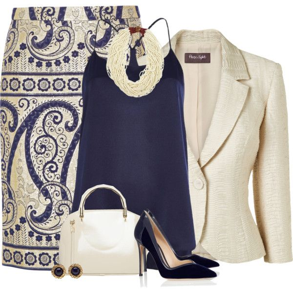 """Fluster"" Navy & Cream // by hollyhalverson on Polyvore"