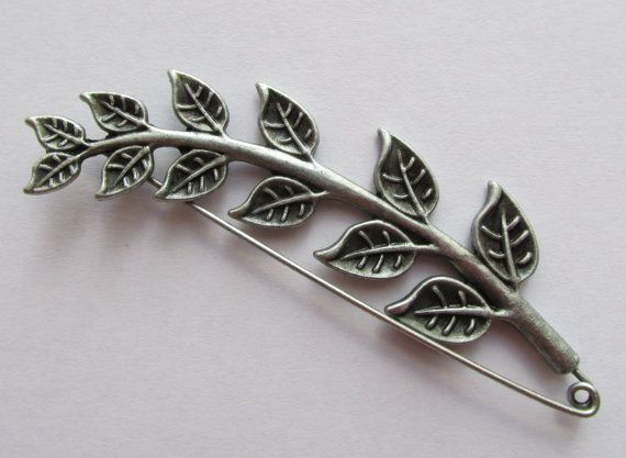 Kilt Pin / Shawl Pin  stem of leaves by TheIrishKnittingRoom