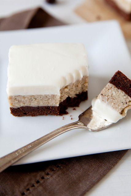 Espresso Cheesecake Brownies. #dessert #baking #recipe #brownies #cheesecake #espresso
