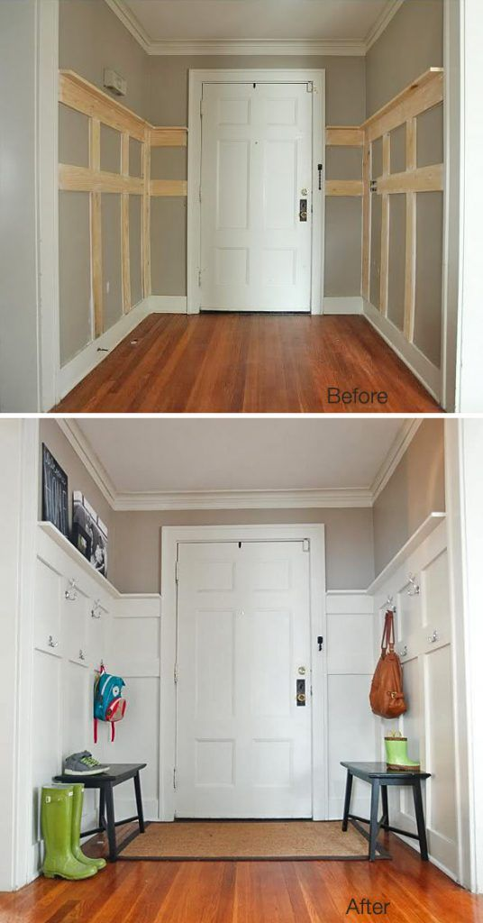 Makeover your front entry with some benches and wall hooks to create more storage and it looks great! This DIY was made for $85. Not bad.…