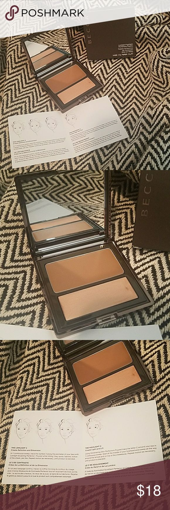 Becca Lowlight / Highlight Perfecting Palette Define your light! Achieve a natural looking Contour by adding depth and dimension with lowlight and highlight.   New and never used or swatched BECCA Makeup Face Powder