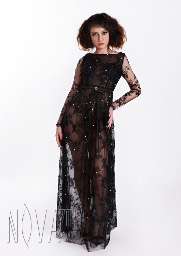 Black lace sexy tulle Evening Dress with shining diamond