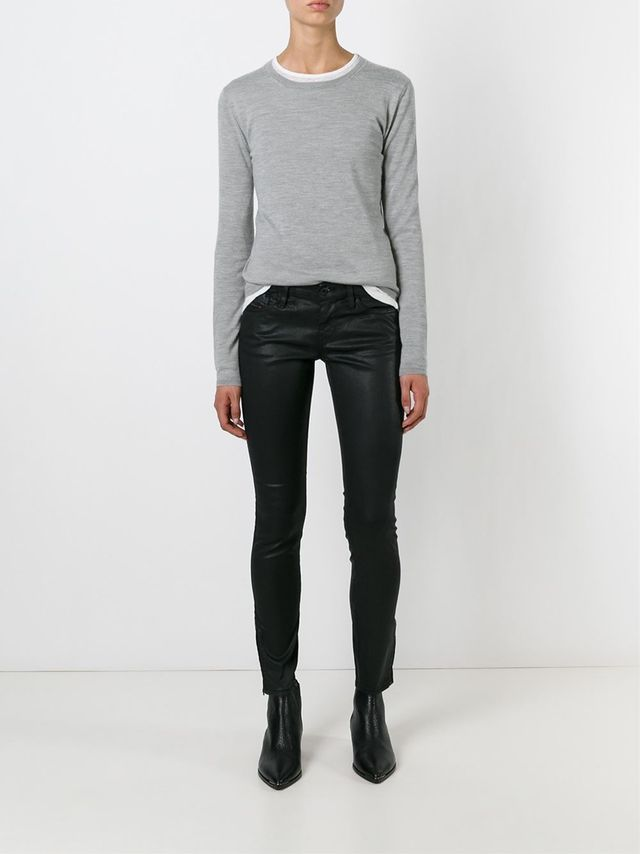 8 Insanely Stylish Ways to Wear Coated Jeans Now: Coated Jeans and Ultra-Casual Top