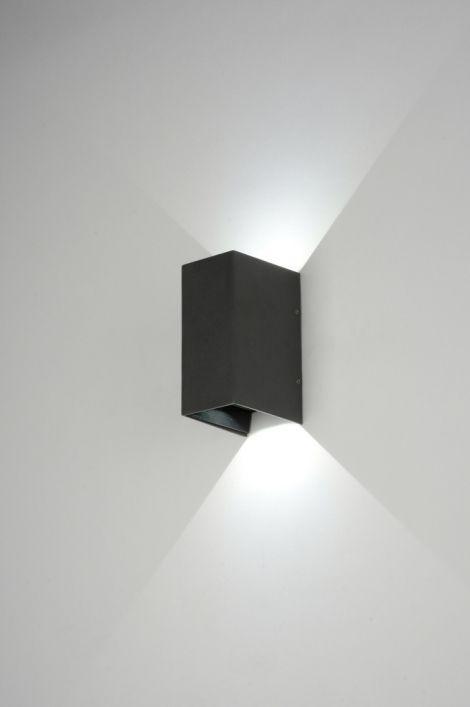 wandlamp 88575: modern, design, aluminium, zwart, mat, rechthoekig ...
