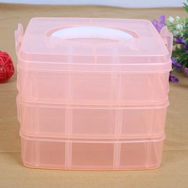 3-layers detachable DIY desktop storage box Transparent Plastic Storage Box Jewelry Organizer Holder Cabinets for small objects