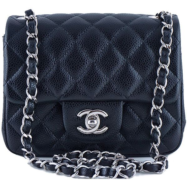 Pre-Owned Chanel Caviar Mini Flap, Black Square 2.55 Classic Bag SHW found on Polyvore featuring bags, handbags, black, mini crossbody purse, black crossbody purse, mini purse, crossbody handbags and mini cross body purse