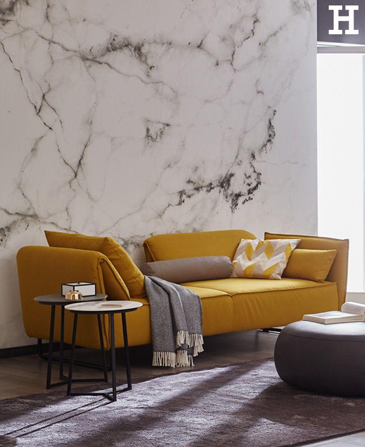 Ein Gelbes Sofa Ist Ein Wahrer Stimmungsaufheller Im Wohnzimmer. #wohnzimmer  #einrichten #möbel