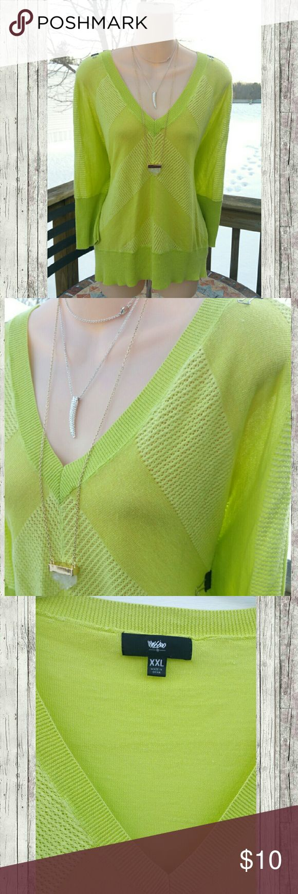 Bright Green vneck stretchy knit top shirt Bundle for discounts!  Eye catching green batwing top in XXL. Bust approx 42-44 inches. Lightweight stretchy material..   #ashleisgoodies #top #shirt #blouse #casual #vneck #green #neon #mossimo #batwing #dolman #butterfly #plussize #plus #xxl #2XL Mossimo Supply Co. Tops