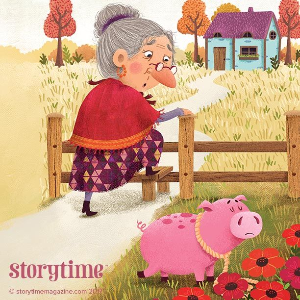 The Old Woman and Her Pig - a funny folk tale from childhood. Illustrated by Cristina Yepez (https://www.behance.net/crisyepez) ~ STORYTIMEMAGAZINE.COM