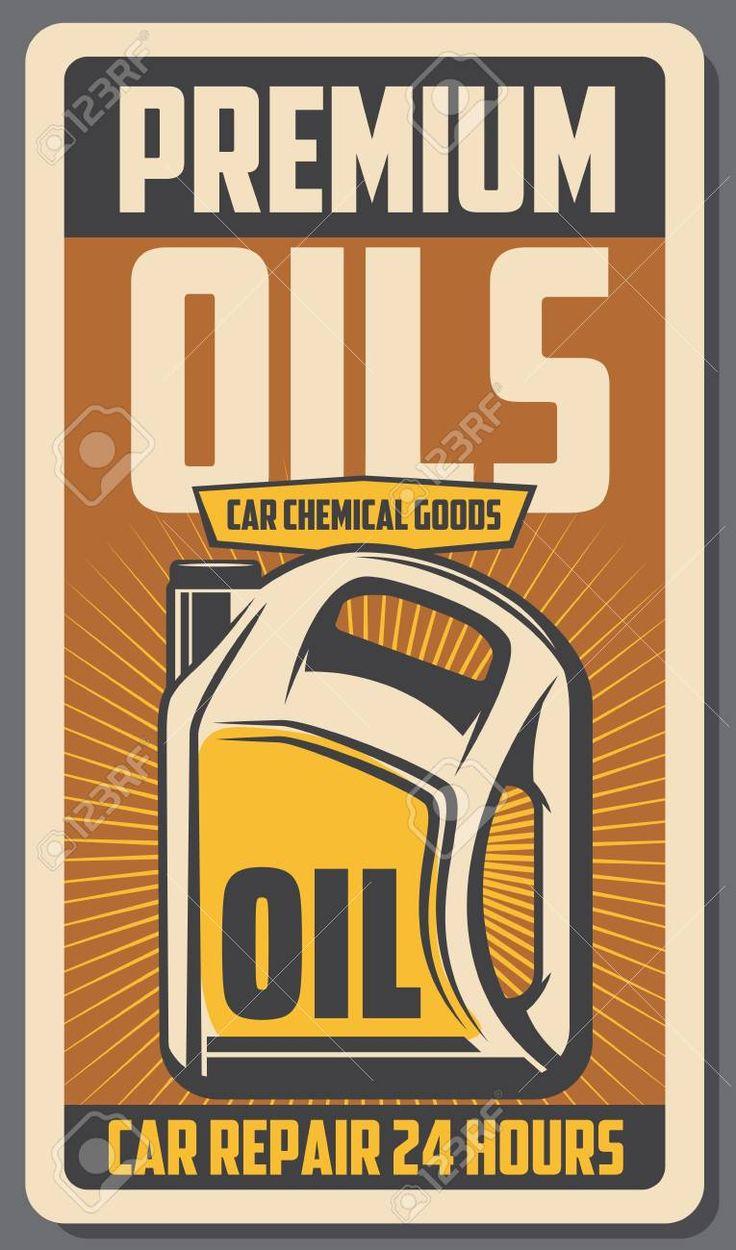 Car engine premium oils advertisement retro poster. Vector vintage design for automobile transport service or mechanic garage station for oil and chem…