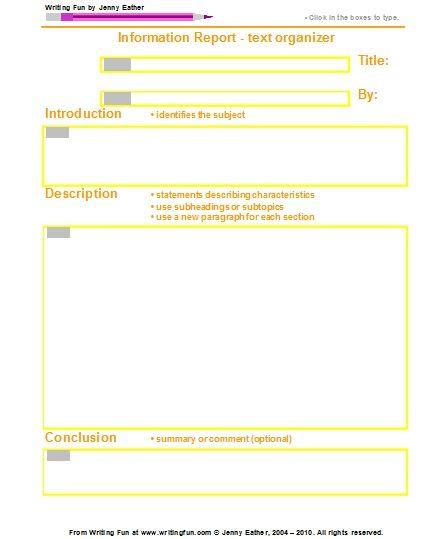 Graphic Organizer: Elementary Report Writing