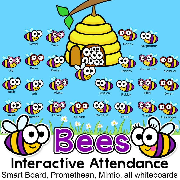 Your busy bees will have fun taking attendance with this bee theme interactive attendance sheet! Works on any Interactive Whiteboard and computer. Display on your Smart Board, Promethean, Mimio or on a computer workstation.