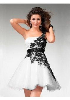 A-line One Shoulder Short/Mini Lace Black And White Simple Homecoming Dresses/Short Prom Dresses #AUSA016004 - See more at: http://www.beckydress.com/special-occasion-dresses/homecoming-dresses/hot-selling-homecoming-dresses.html#sthash.iA2VwcmJ.dpuf