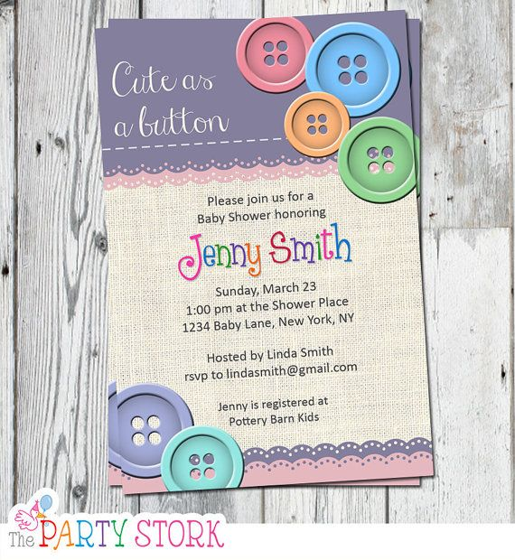 Cute As A Button Invitation | Cute As A Button Baby Shower | Printable File  | Purple Pink Orange Blue Green