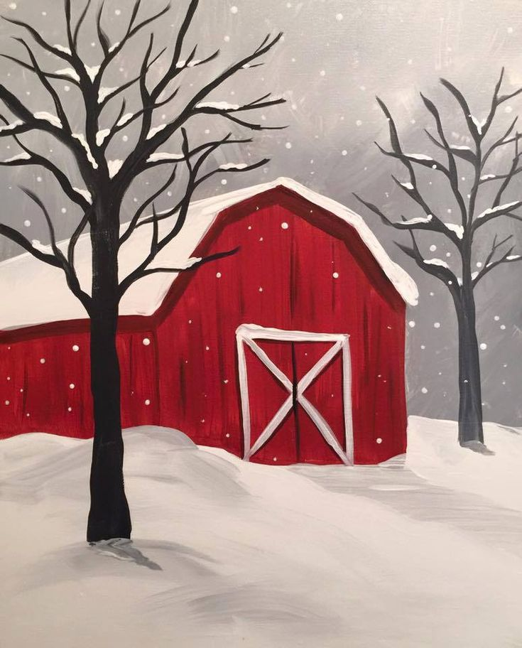 Snowy Barn from Canvas and Chardonnay, Rochester MN - suggested to maybe add a wreath
