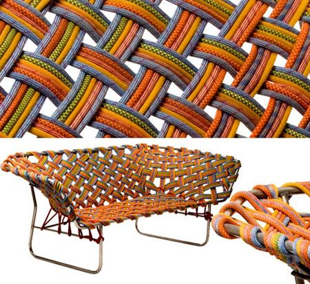 This sofa was woven using old climber ropes - AWESOME! I totally need one for my van.