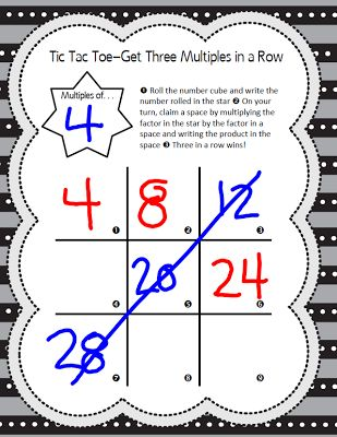 Multiples Tic Tac Toe Game. Students use a familiar tic tac toe board to practice their basic multiplication facts in this FREE game.