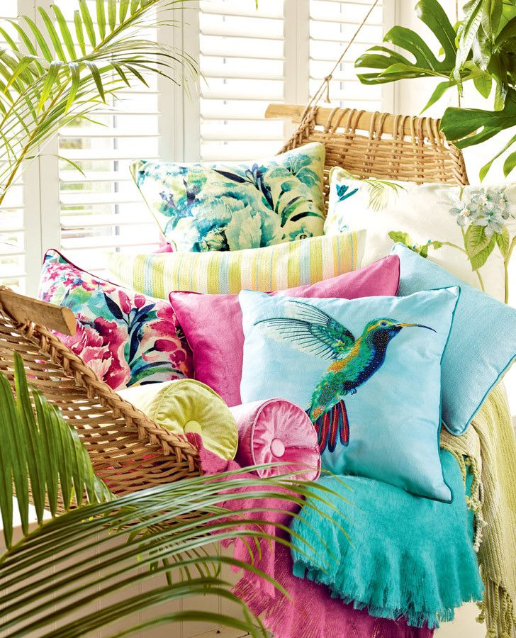 Laura Ashley Palm House Cushions #lauraashleyhome - Must have a sunny and cheerful little corner on the lanai or near a window.