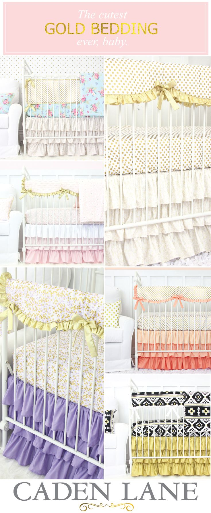 Looking for Gold Crib Bedding? We've got you covered! Shop Gold Nursery Bedding and start designing your dream nursery.