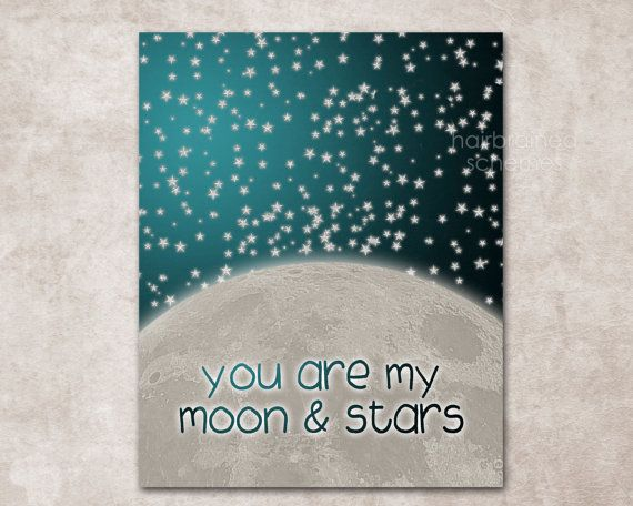 You are My Moon and Stars Digital Art Print  by hairbrainedschemes, $15.00
