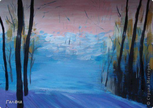 Чёрной гуашью пишем самые ближние к нам стволы деревьев.Осеннее утро.  5 октября, 2012 - 14:15 ~ Галёна