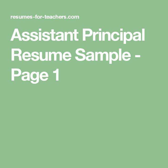 Assistant School Principal Resume Or CV Sample A.k.a. Vice Principal