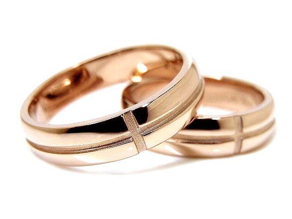 AMBRACE K18 pink gold ring stylish round cross line 4.5mm ピンクゴールド ペアリング スタイリッシュ ラウンド クロス ライン