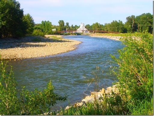 This is where the Sheep River borders the Okotoks Lions Campground in Okotoks, Alberta...one of the best campgrounds in Canada and where I learned to skip rocks