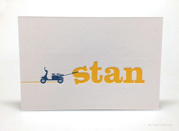 Vespa letterpress birth announcement 'Stan' printed by Polyprint24