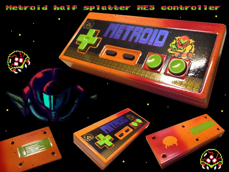 Metroid NES controller half splatter by Hananas-nl on DeviantArt