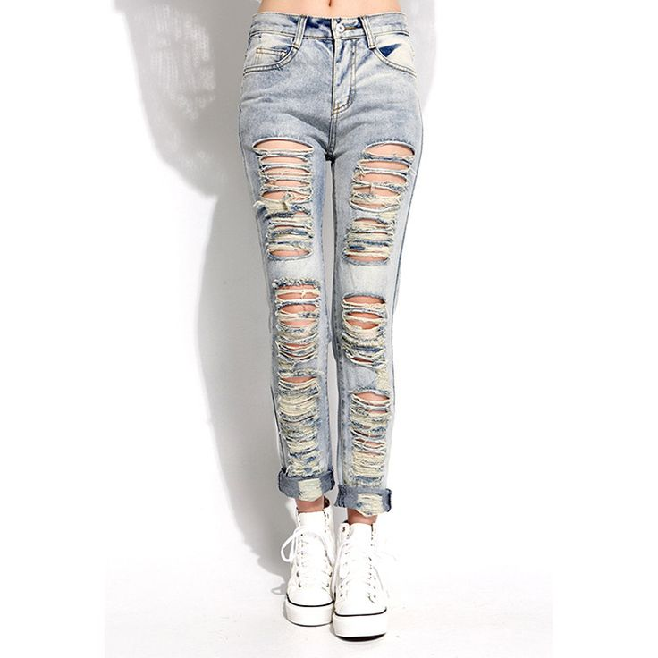 Ripped Jeans For Women Washing Grinding Women Jeans Light Color Hole Cowboy Female Trousers Jeans Woman