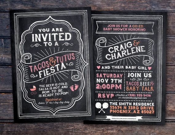 Tacos and Tutus chalkboard couples co-ed Baby by LyonsPrints