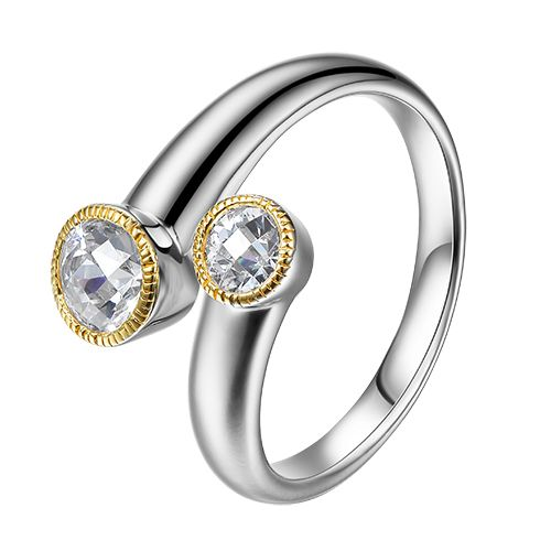 Elle Sterling Silver Gold Plated Ring with Bezel Set CZ's